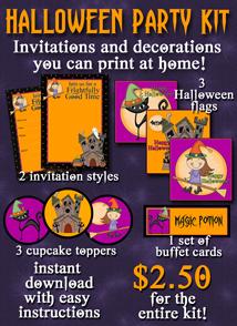 printable Halloween invitation and decorations kit