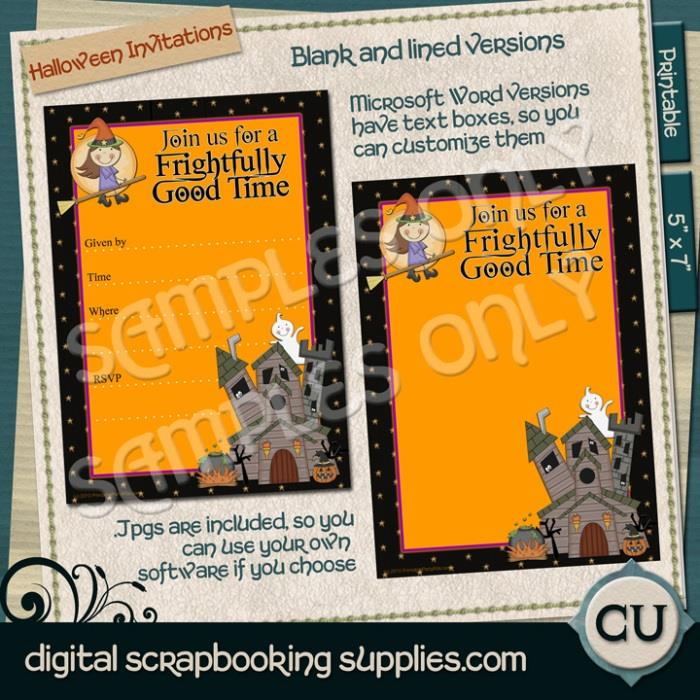Whimsical Witch Halloween Invitations Digital Scrapbooking Supplies