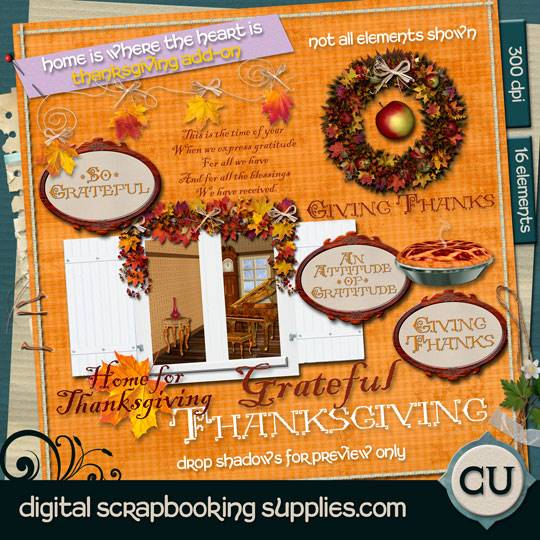 Thanksgiving scrapbook elements