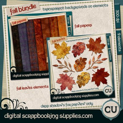 Fall scrapbook papers and leave bundle