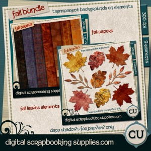 fall scrapbook papers and leaf elements