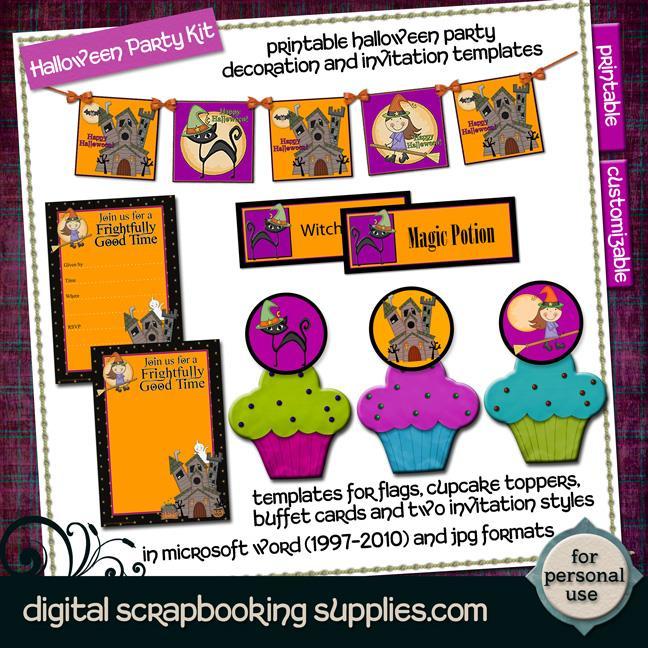 printable halloween party kit templates
