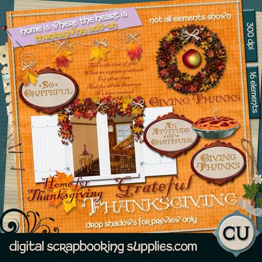 Thanksgiving scrapbook elements