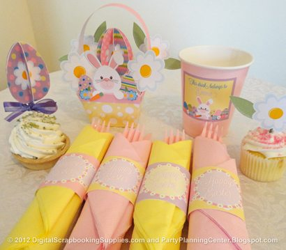 Easter napkin holders, cupcake toppers, cup label and embellished basket
