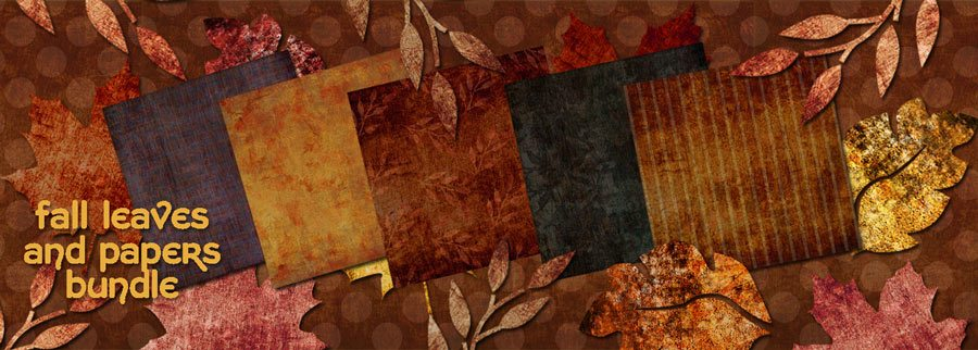 fall scrapbook paper and leaves bundle